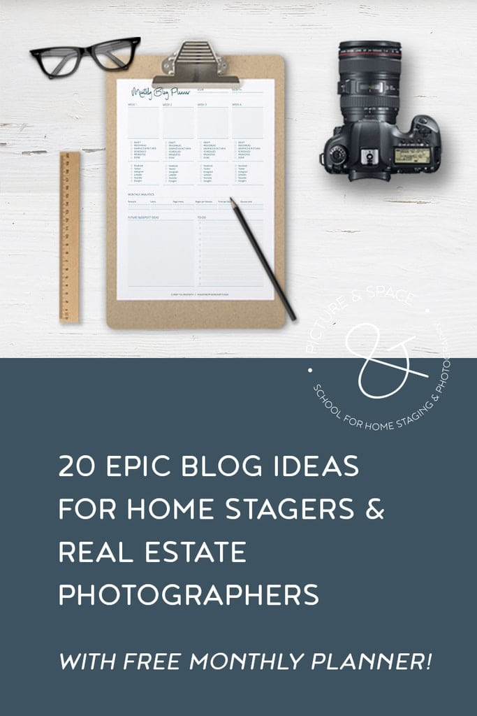 It can be hard to come up with topics to share on your website. I created a list of 20 subjects you can use for your home staging or real estate photography blog.