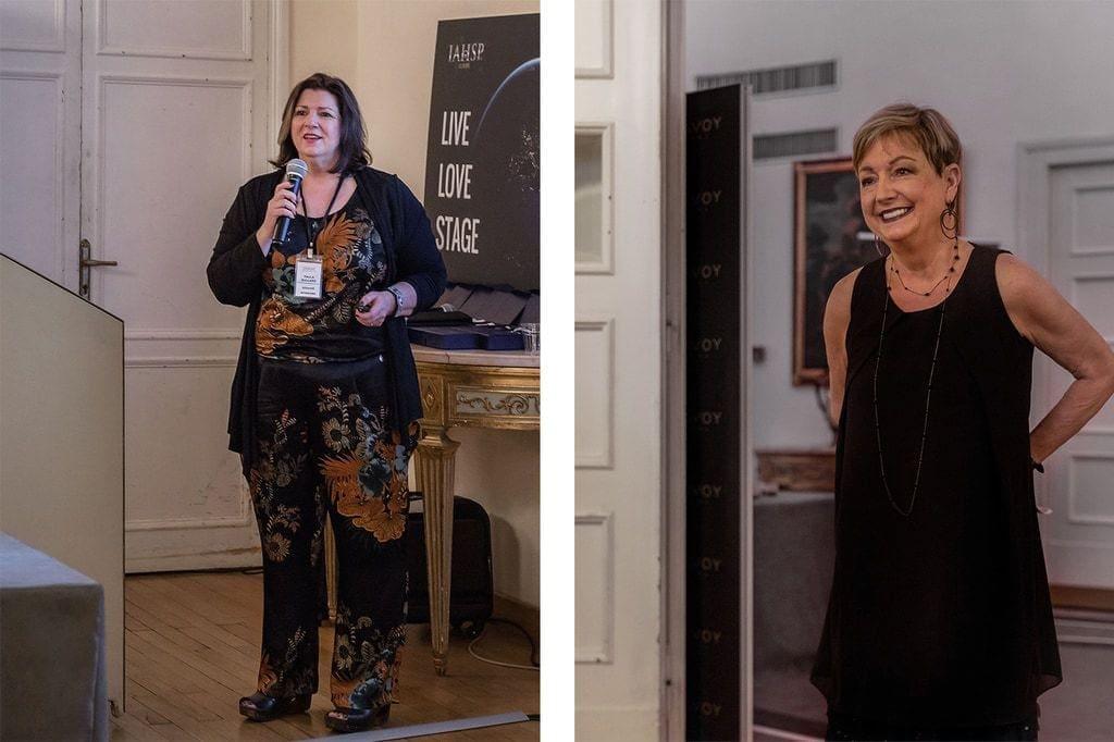 Paula Bullard en Barb Schwarz tijdens de IAHSP conferentie in Rome