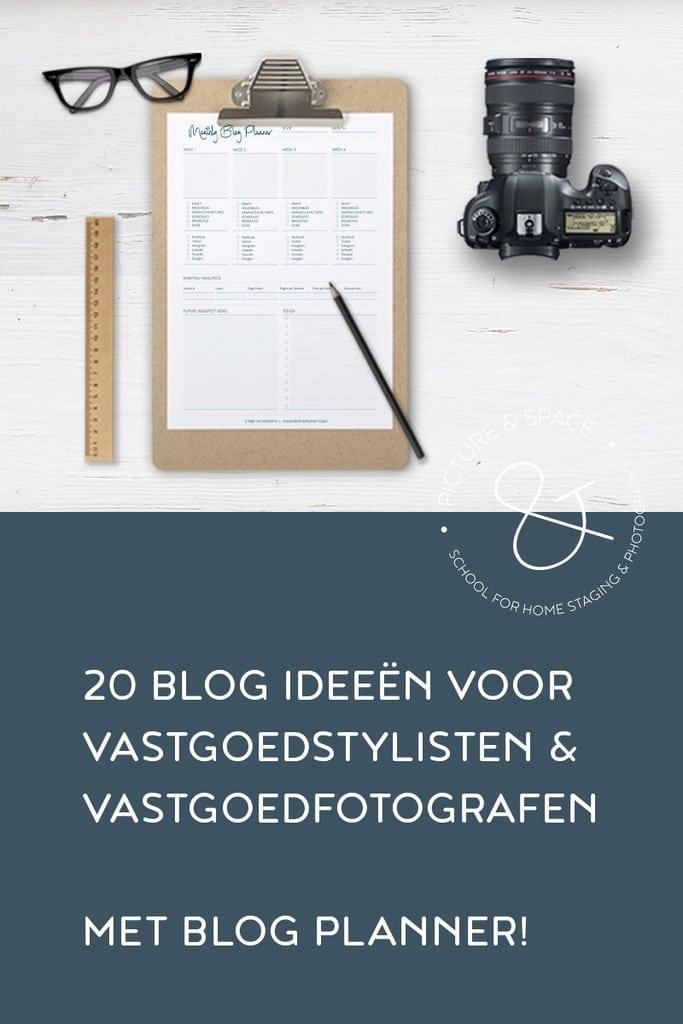 20 Blog Ideeën voor Vastgoedstylisten en Vastgoedfotografen. Het kan lastig zijn om onderwerpen te bedenken: Alsjeblieft, een lijst met 20 ideeën die je kunt gebruiken voor je Vastgoedstyling & Vastgoedfotografie blog.
